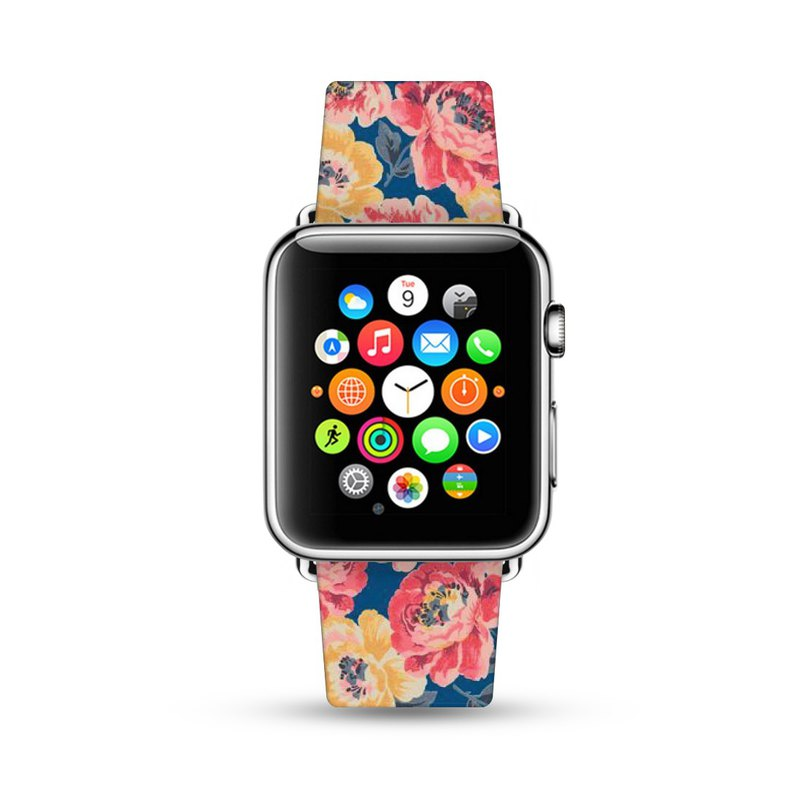 Vintage Floral Flower print leather strap Apple Watch Band 38 40 42 44 mm -003