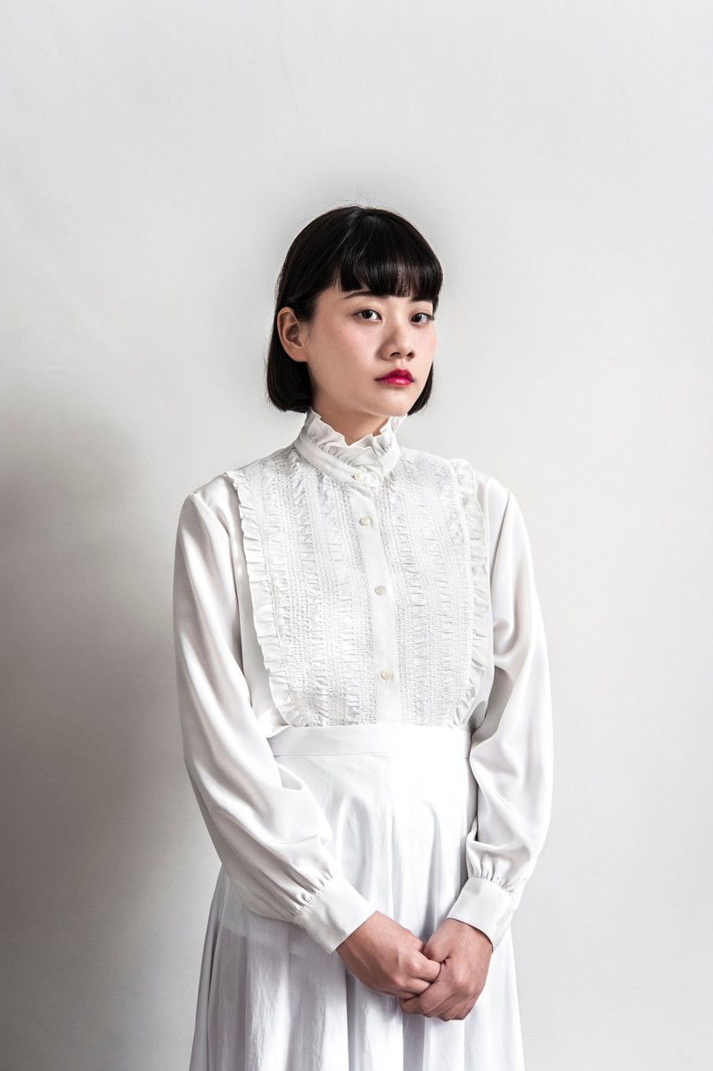 Vintage Pure White Long Sleeve Shirt