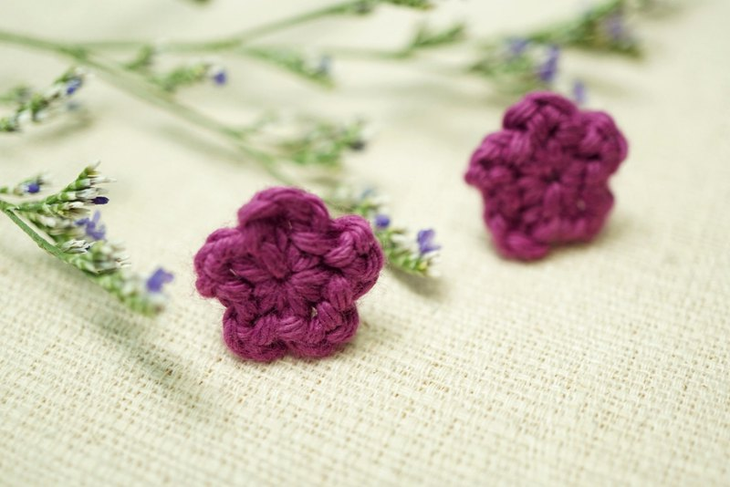 Fluffy Floral Earrings - Deep Purple