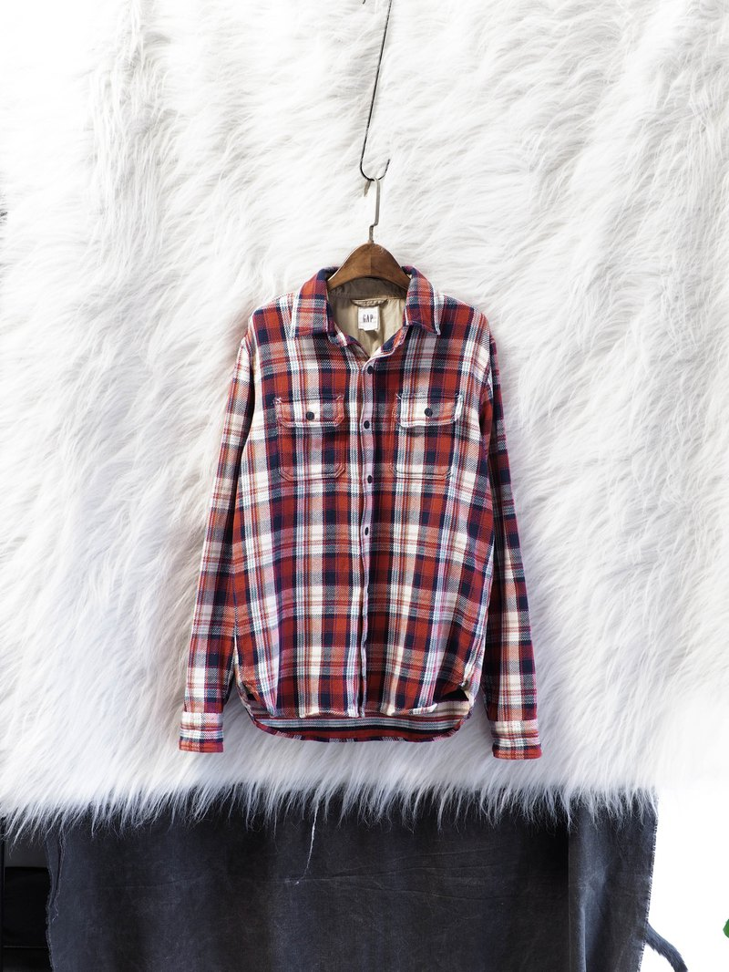 Gap classic plaid youth rock weekend party antique cotton brushed shirt shirt jacket vintage