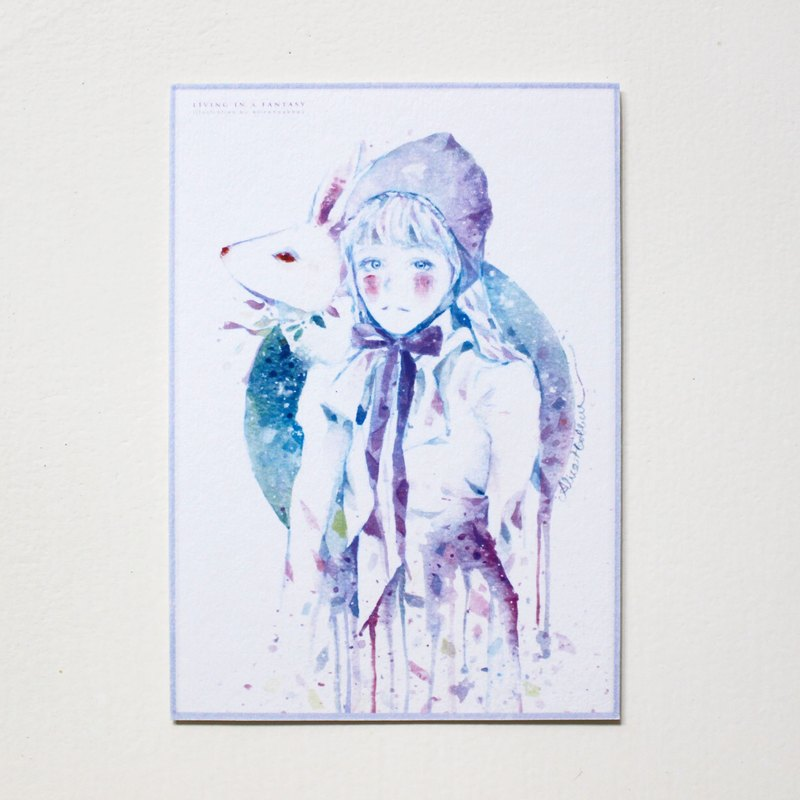 - Alice Hobbey - Fantasy Girls Rabbit Series Double-sided watercolor illustration postcard