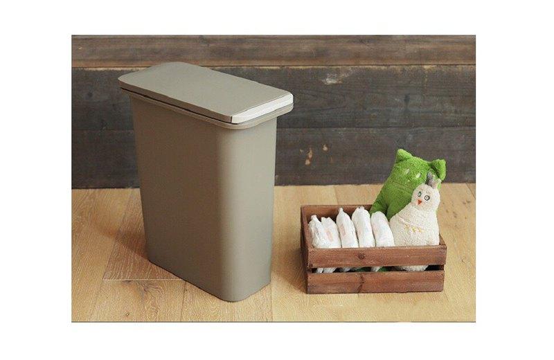 日本 home & home雙重防臭按壓式垃圾桶20L(棕色)