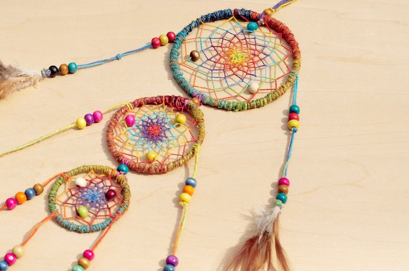 Christmas rainbow colored hand-woven cotton Dreamcatcher Charm - colorful dyed color line segment (a group of three times)
