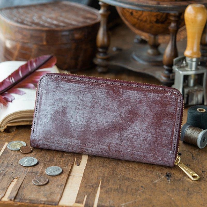 日本製造 牛皮 錢包 暗紫红色 Thomas Ware Bridle made in JAPAN handmade leather wallet