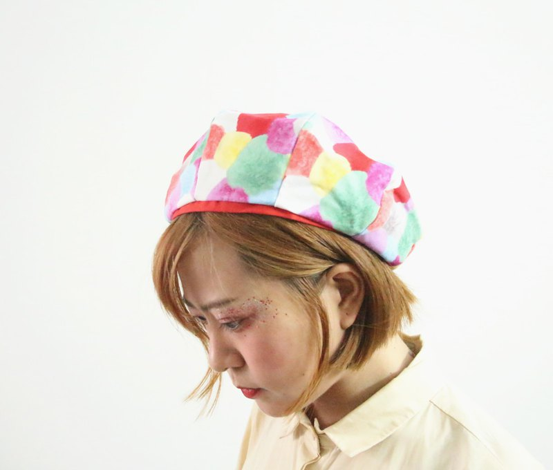 Watercolor wave point octagonal beret