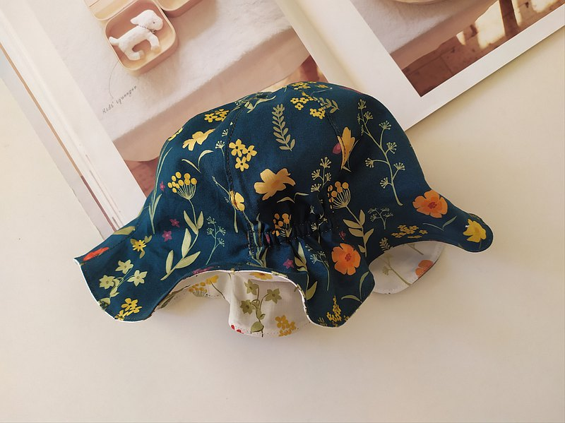 Elastic petal cap double-sided baby hat baby hat fisherman hat baby hat baby sunshade