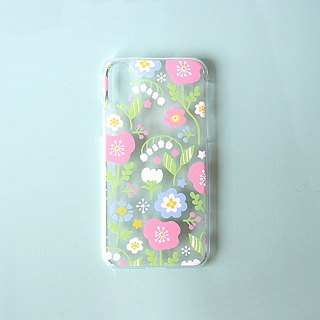 Clear iPhone case - Spring Pastel Flowers (Pink) -