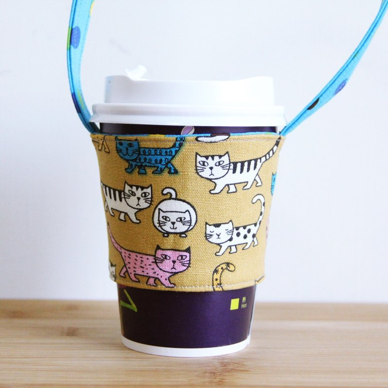 Wen Qingfeng green handbag cup ~ Corner love cat khaki yellow hand-sided environmentally friendly beverage bag suction hand cup coffee bag Cup set exchange gifts