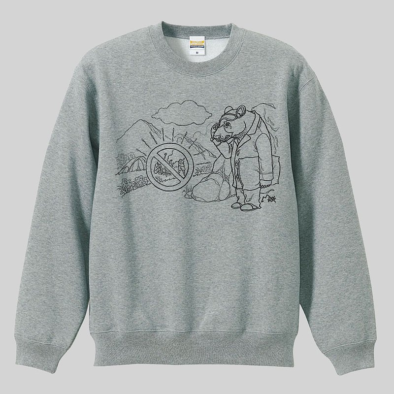 [Illustrator Milk Don] BEAR Japanese brand thick cotton 10oz round neck long sleeve university T