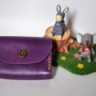Double card leather purse - flower buckle version of lavender purple