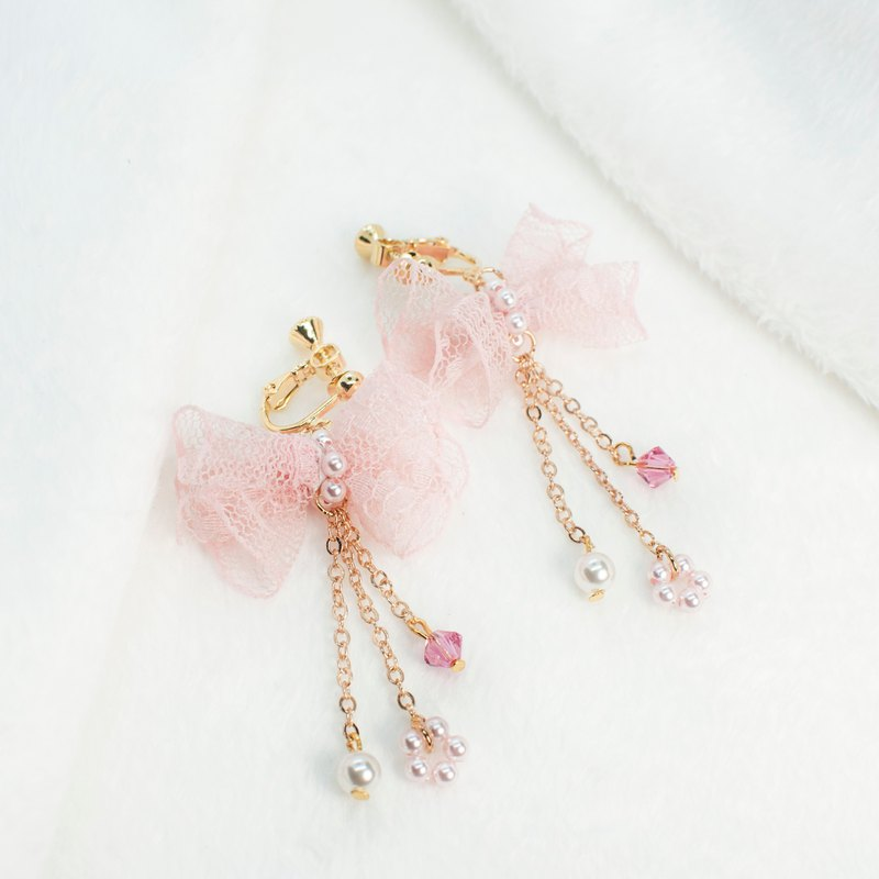 Lace bow romantic earrings Swarovski