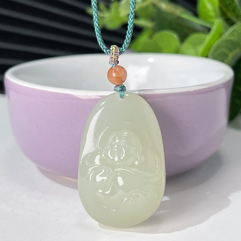 Hetian Jade Lake Water Green Laughing Buddha Buddha Pendant Necklace with Lilac Green Hand-knitted Rope with Certificate Oily and Delicate
