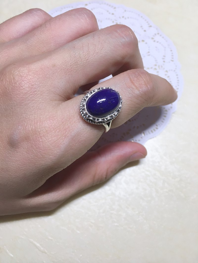 Natural lapis lazuli ring Nepal craft handmade 925 sterling silver