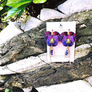 Humming-embroidery earrings midsummer night dream - three-dimensional flower series