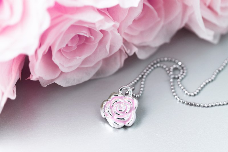 Flower series delicately painted rose lover necklace (NLAJA0847N-4)