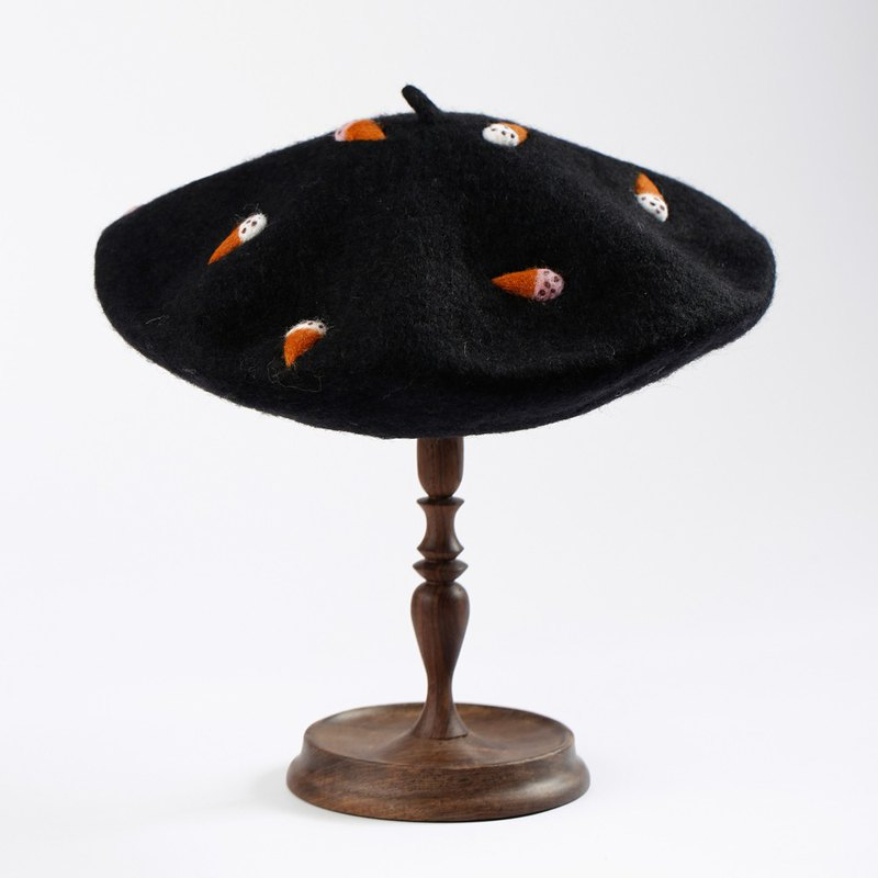 轲人 Original handmade wool felt needle felt ice cream cute beret painter hat fun hat 蓓 帽 hat