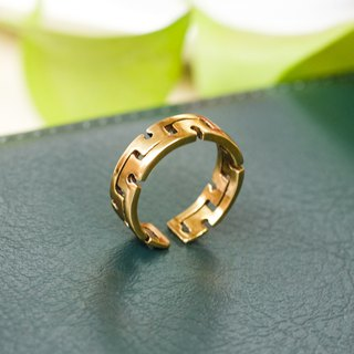 Geometric labyrinth pure brass opening ring pure copper jewelry