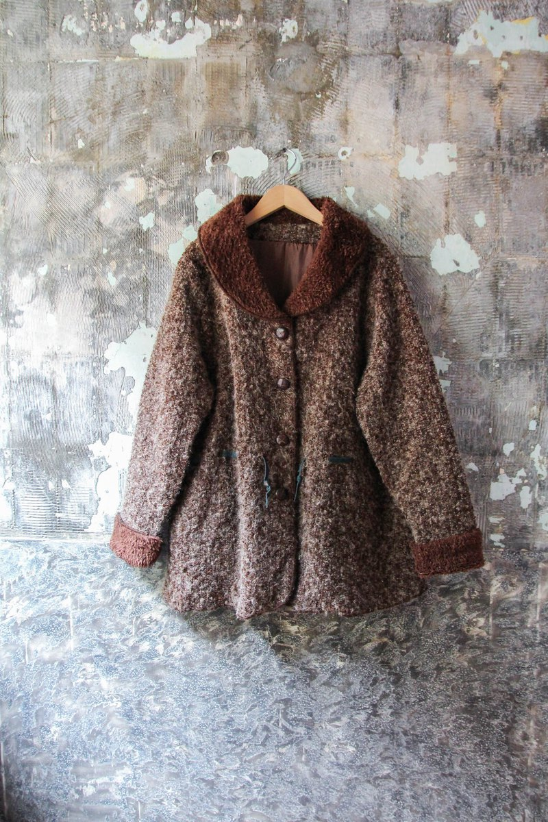 袅袅 department store -Vintage brown lapels fur coat jacket retro