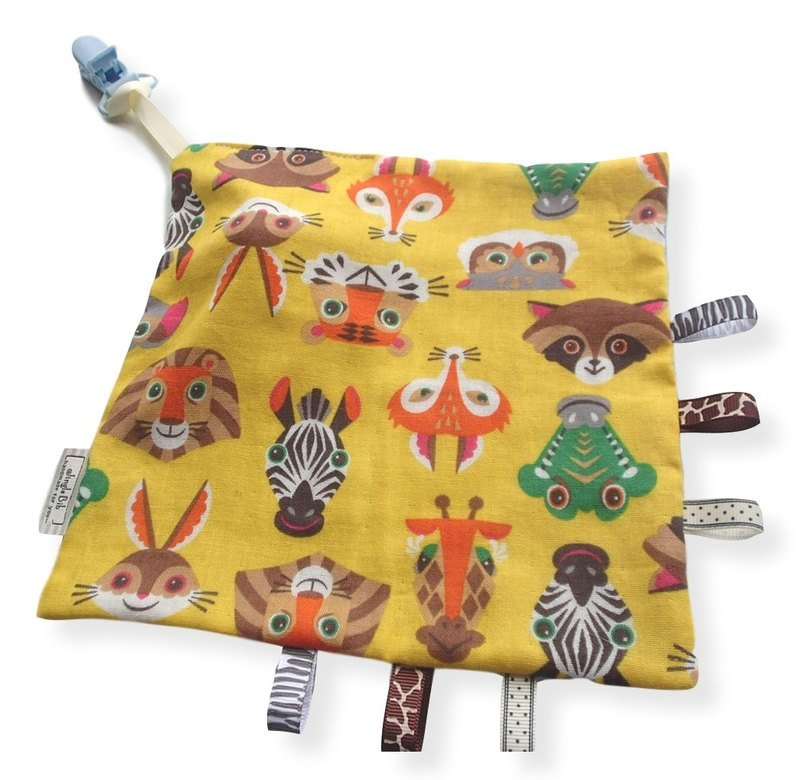 Taggie Blanket,Rattle Toy,Animal Faces on Yellow,Super Soft Cotton,Tag Blankie,Baby Boy Girl,Unisex,Comforter,
