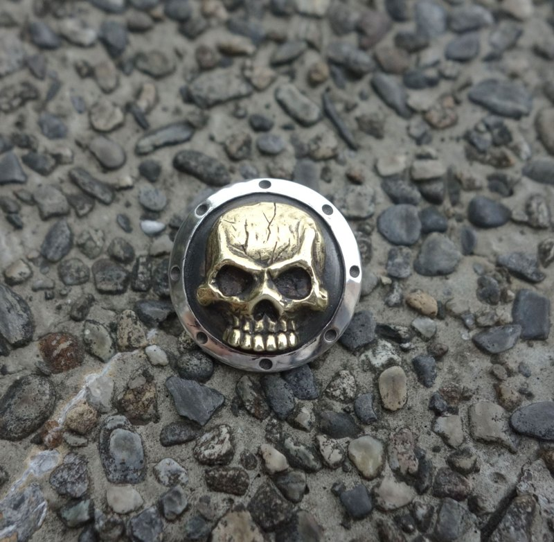 Sterling Silver / Brass - Skull Shield - Pendants