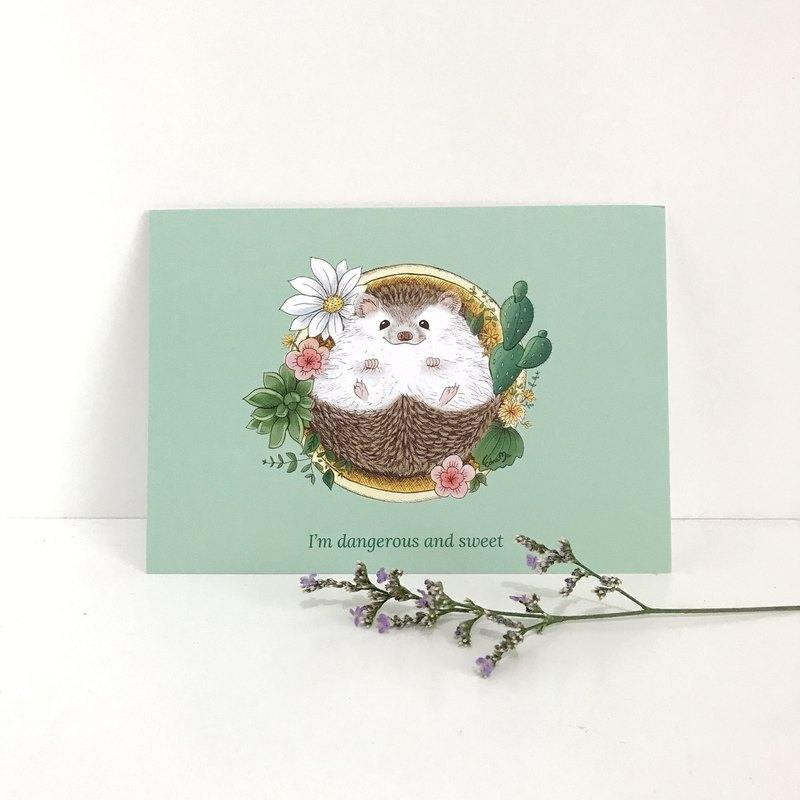 Hedgehog Postcard - I'm dangerous and sweet