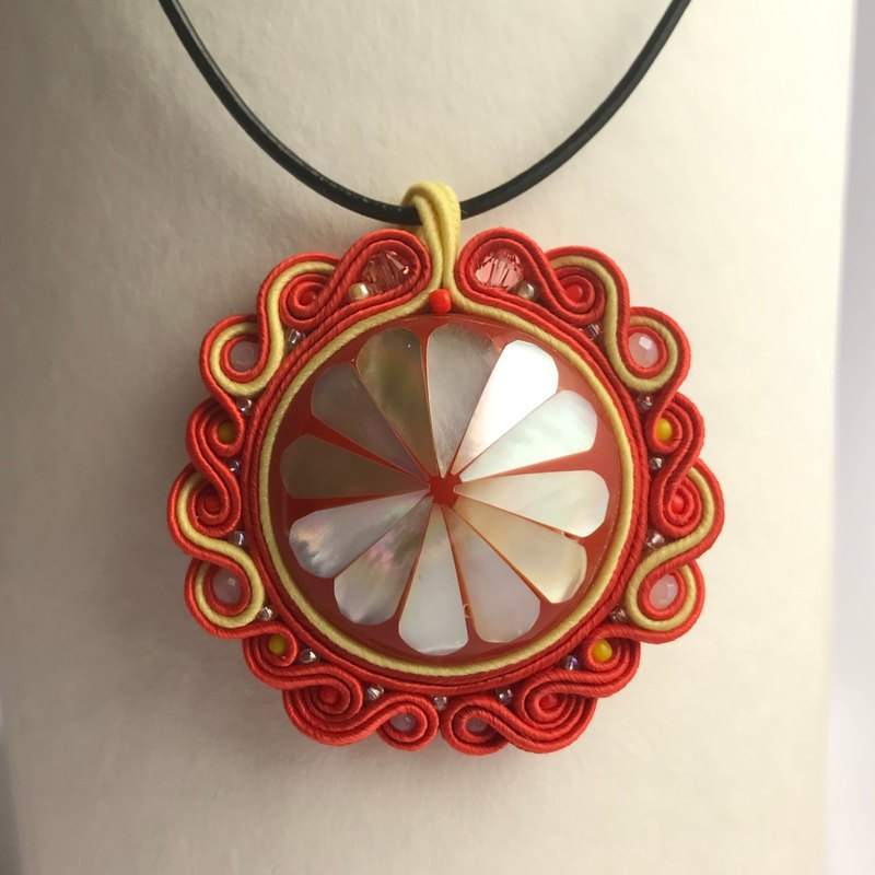 Orange flower Soutache pendant