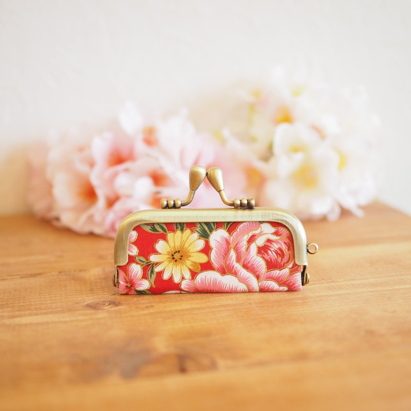 Gama mouth seal case with Taiwan flower cloth vermilion [Made to order]