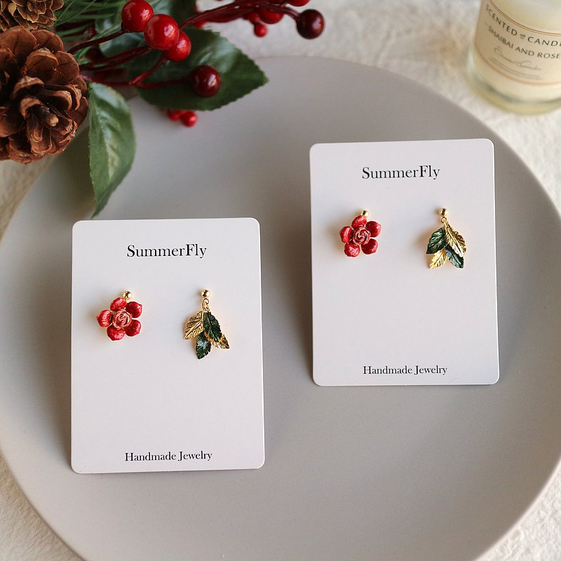 Lucky Bag-European Romantic New Year Exchange Gift Christmas Red Asymmetric Flower Earrings Green Leaf b3