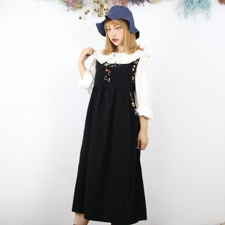 Back to Green:: Black Floral Edge Double Pocket Vintage Dress (DS-07)