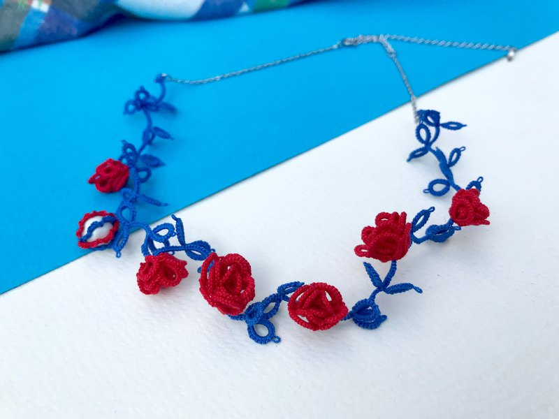 Tatted 3-D rose necklace / gift / customize