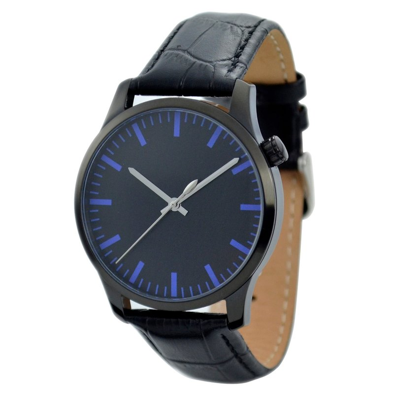 Men's simple black-faced watch thick stripes (blue) black shell - Global Free transport