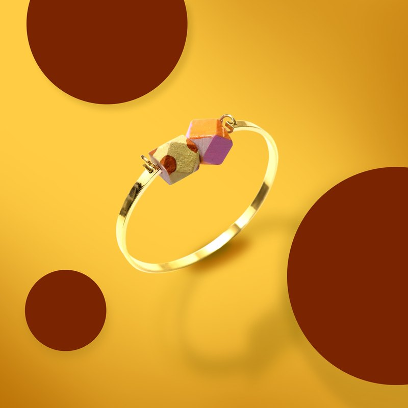 Color angled metal bracelet giraffe wood pattern pink orange bracelet +