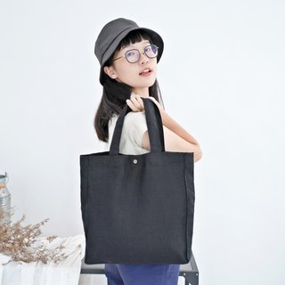 Casual Linen Tote Bag (Black)