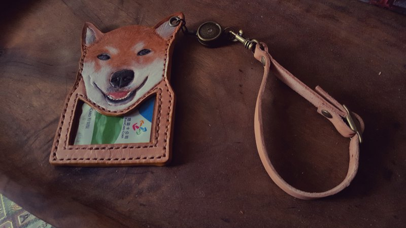 Custom dog skin color pure leather telescopic identification card / leisure card holder (birthday, Valentine gift)