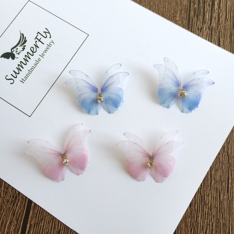 Ink dyed pink blue silk butterfly rhinestone flash drill earrings