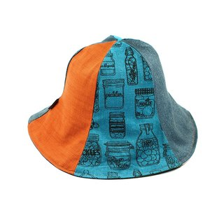 Calf Village Calf Village Handmade Double-sided Hat Customized Sunshade Zakka Wind Japanese Hand-painted Flax (Grain Canned Food Box) Concentrated Blue and Green [H-319]