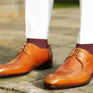 Orange two hole carved Derby shoes Goodyear suture handmade