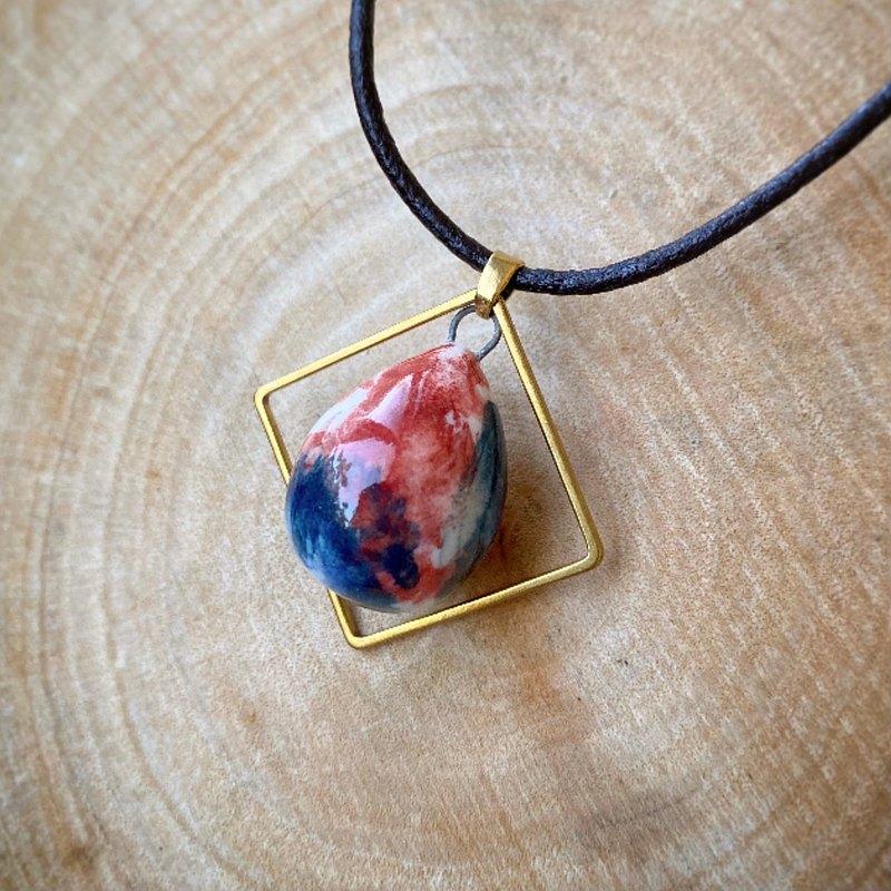 手作陶藝  香水精油項鍊 赤紅與藍風  擴香