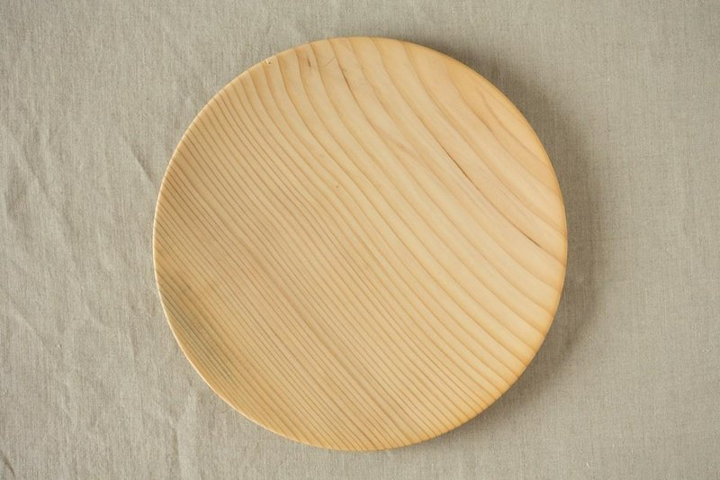 Wood 24cm of the potter's wheel grind of wooden plate fir (fir) 04
