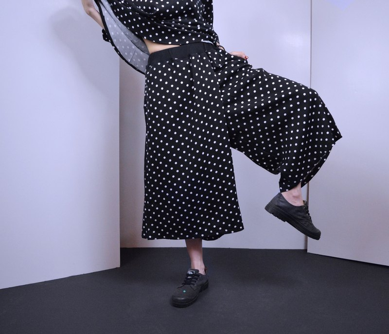 Wide-Leg Culottes In Polka Dot