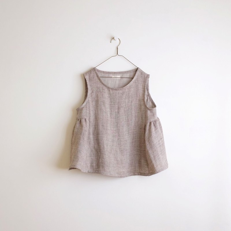 Everyday hand-made clothing retro shallow mocha air sense umbrella type blouse linen double yarn