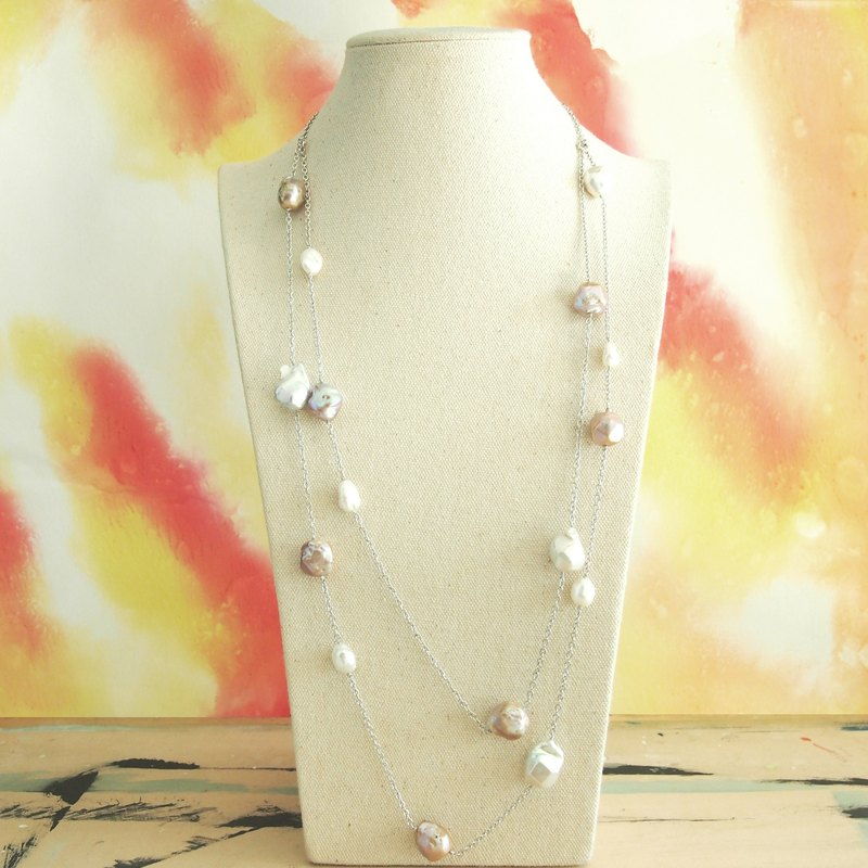 Irregular freshwater pearl necklace【Shooting stars】Necklace - multi use