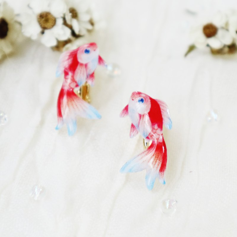 Jumping goldfish earrings ear clips red and blue