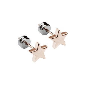 Mini Lucky Star - Rose Gold Pure Titanium Needle A pair