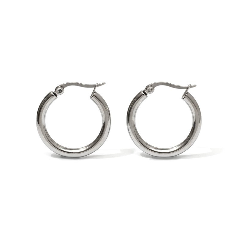 Recovery Round C-shaped earrings (steel silver)