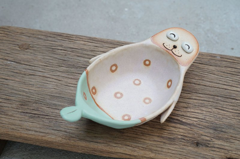 Sea lion bowl , handmade ceramic, pottery  ,clay , rainbow ,dot