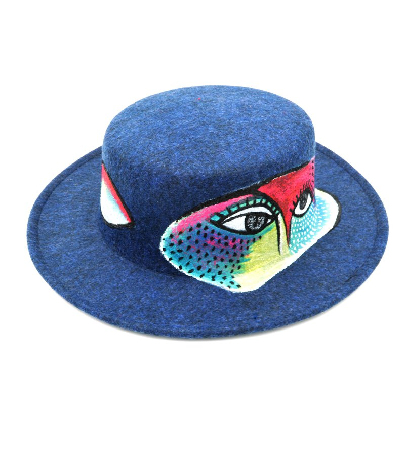 Hand-painted abstract human face painting cashmere dress hat Hand Paint Hat