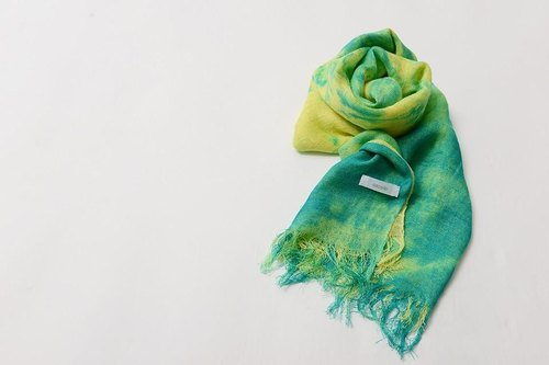 Domestic silk hand-painted dyed stole yellow & green