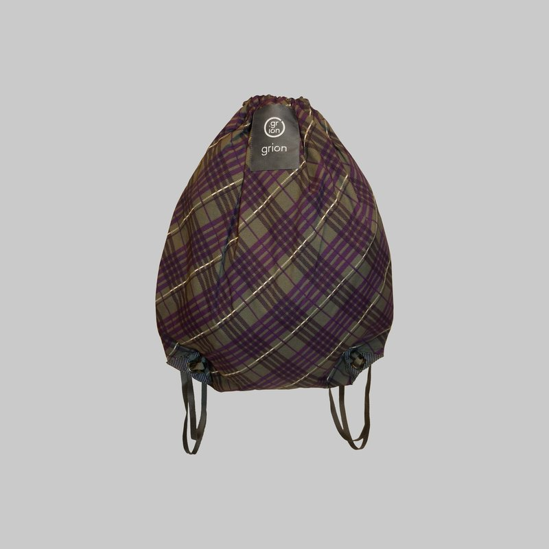 groin waterproof bag - back section (M) - Limited models - purple plaid gray suit fabric section
