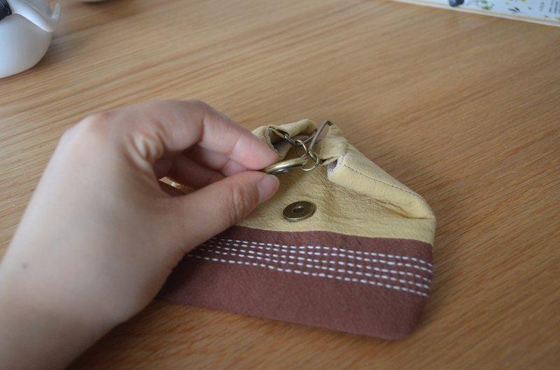 刺子繡拼布飯團口金零錢包